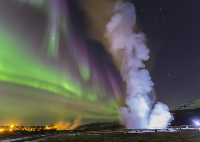 Strokkur and Northern Lights