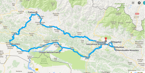 Nepal package tour map
