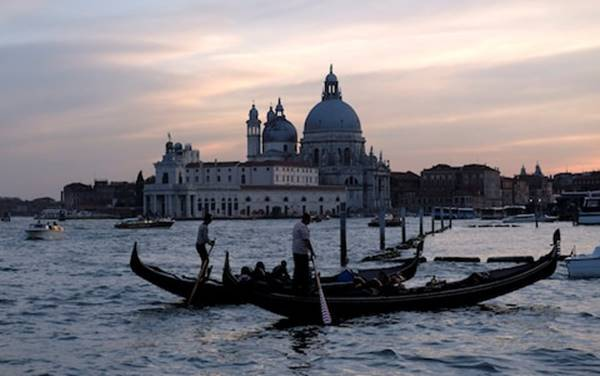 Gondolas on the Grand Canal - a classic view of Venice